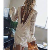 Ayualin Sexy Backless Beach Swim Coverup Sommerkleider Weiß Spitze Kleid Frauen Tunika Robe Vintage V-Ausschnitt Boho Vestidos Plus Größe 210311