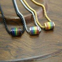 Colares pingentes de aço inoxidável doce arco-íris doce colar homens moda casal unisex cadeia de alta qualidade jóias presente