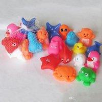 Gemengde dieren zwemmen water speelgoed kleurrijke zachte drijvende rubberen eend squeeze geluid piepende badspeeltje voor babybad xz groothandel