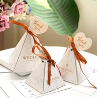 Gift Wrap Paper Triangular Pyramid Chocolate Candy Box Wedding Favors Decor Boxes Bags Marble Flamingo Baby Shower Party Supplies
