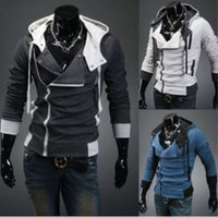 Mens Assassins Creed 3 Hooded Coat Jacket Fashion Oblique Zipper Slim Hoodies Coat Male Casual Fit Long Sleeved Sweatshirts Jacket Coat Tops