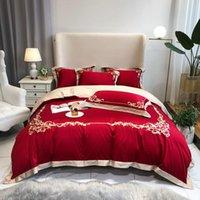 Yatak Takımları Lüks Stil Kırmızı Nakış 100 S Mısır Pamuk Nevresim Yatak Ketenleri Gömme Levha Yastık Yatak Örtüsü Kral Kraliçe 4 adet