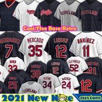Худенья Кливленда 12 Франциско Линдор Хосе Рамирес Бейсбол Шейн Бибер Cesar Hernandez Oscar Mercado Josh Naylor Eddie Rosario Men