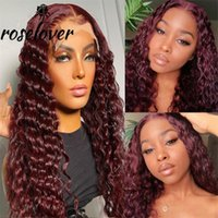 Lace Wigs Burgundy Front Human Hair Deep Curly 99J PrePlucked With Baby Transparent Bleached Knots Brazilian Remy