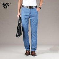 Voreloce Lüks Yüksek kaliteli Likra-Tencel Hafif Kot Pantolon 2021 Bahar Yaz Iş Rahat erkek Marka Düz Pantolon