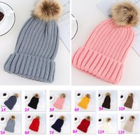 Adults Thick Warm Beanie Winter Hat For Women Soft Stretch Cable Autumn Knitted Pom Beanies Hats Patchwork Woman Skull Caps BWF10359