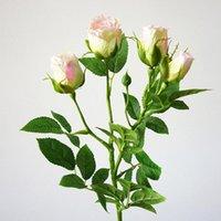 الزخرفية الزهور أكاليل 4 رؤساء الاصطناعي طويل الجذور الزفاف الديكور الحرير روز فروع البلاستيك وهمية مع أوراق المنزل الديكور