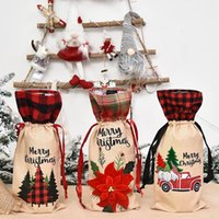 파티 용품 Flax Hemp 격자 무늬 스트라이프 메리 크리스마스 와인 병 커버 장식품 Christams 테이블 홈 HWF9124에 대 한 크리스마스 장식