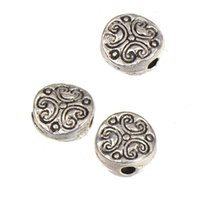 Accessories For Handicrafts Round Beads Bracelets DIY Alloy Necklaces Crafts Flat Heart Love Antique Silver Metal Jewelery Components 6*3mm 500pcs