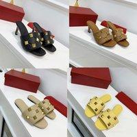Frauen Roman Bolzen Sandale Sommer 6,5 cm Flache Hausschuhe Leder Niet Sandalen Niet Black White Damen Sexy Hochzeit High Heels US12 NO269