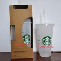 Coupes en plastique transparentes de 24 oz / 710 ml de jus de fruits de jus qui ne changent pas de couleur de la couleur de la gobeleuse réutilisable Coupes Starbucks avec des couvercles et des pailles Coffe