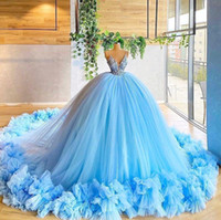 Stunning Sweet 15 Sky Blue Ball Gown Quinceanera Dresses 2021 Sexy Spaghetti Strap Beads Appliques Ruffles Long Evening Prom Dresses