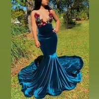Party Dresses Sexy African Mermaid Prom Halter Sheer Neck Beads Sequins Black Girls Evening Dress With Sash Front Split Vestidos