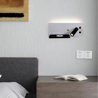 테이블 램프 Sanmusion 벽 마운트 Led 램프 침실 헤드 보드 읽기 책상 책 조명 5V USB 충전기 포트 무선 체차 선반
