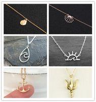 Золотая серебристая морская волна Sunshine Anchange Trident Caffeine химическая молекулярная структура молекула кулон цепи ожерелье для женщин Choker