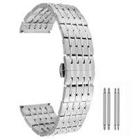 Watch Bands 20 22 24mm Sliver Strip Nine-Ball Steel Belt Wristwatch Band Fashion Butterfly Buckle Women Men