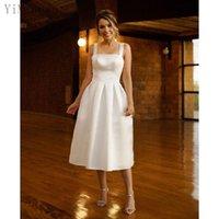 Short White A Line Prom Dresses Spaghetti Zipper Back Tea Length Formal Evening Party Gowns vestidos de fiesta Custom Made