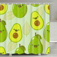 아보카도 샤워 커튼 180 * 180cm 여름 아보카도 인쇄 성인 욕실 샤워 커튼 귀여운 만화 아보카도 욕실 장식 DHD5244