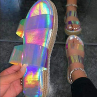 Cancella pantofole in vinile iridescenti donne piattaforma Sandali Designer Slifts Summer Shoes Flat Shoes and Borselly Scarpe da Donna Sandalias