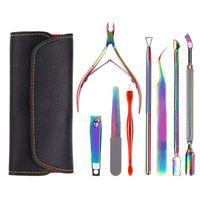 Nail Art Kits 4PC Manicure Care Groove Clean Tool Rainbow Stainless Steel Tweezer Rhinestone Pick Up Cuticle Pusher Acrylic Kit
