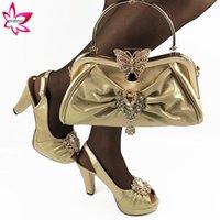Dress Shoes Latest Golden And Bags Set Nigerian Match Matching African Women Rhinestone Wedding