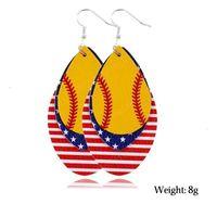 Nowy Dzień Niepodległości Kobiety Dangle Kolczyki Biżuteria Prezenty Baseball Futbol Softball Sport PU Leather American Flag Kolczyki