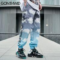 Gonthwid calças streetwear nuvens gravata tintura tintura fina corredores calças hip hop haujuku moda casual solto solto baggy homens calças macho c0325