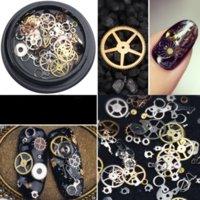 Japansk stil Metallic Nail Stickers Konstdekorationer Nitar Blandade ångpunkter Klockor Studs Gear 3D Time Wheel Manicure Pedicure DIY Tips Ornaments