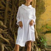 Casual Dresses Womens Party Holiday Massive Baumwolle Femme S-5XL Stilvolle Herbstkleid Zanzea Unregelmäßige Knieegreth Streetwear Ropa de Mujer