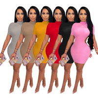 Donne Summer Dresses Backless Miniskirts Color Solido Abito One-Piece Dress Manica Corta Gonne Plain Skirt Night Club Party Abbigliamento Abbigliamento Abito da gioco Plus Size 2XL 4700