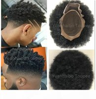 AFRO CURL HUMAN HUMAN TOUPEE COLOR NEGRO CORTO INDIO REMY REMY Reemplazo para hombre Peluca para hombre Toupee para hombres negros envío gratis