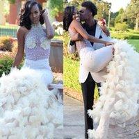 2021 Sexy Mermaid Wedding Dresses Sheer Black Girl African Party Gowns Plus Size Vestido de fiesta Beaded Dress