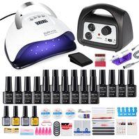 Nail Art Kits Set Manicure 20 18 12 10 Pcs Gel Polish Drying UV Lamp Electric Drill ManicureSet Extension Kit