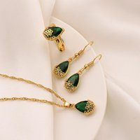 Earrings & Necklace Pendant Ring 24K Fine Gold GF Water Drop Green Crystal Jewellery Set Cz Big Rectangle Gem With Channel