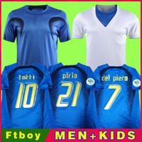 Retro 2006 Jersey Jersey Gattuso Cannavaro Francesco Totti Del Piero Nesta Inzaghi Pirlo Materazzi Toni Italia Futebol Camisas