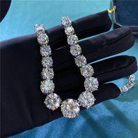 Correntes na moda Colar de diamante 100% real 925 Corrente de casamento de prata esterlina para mulheres nupcial moissanite jóias presente