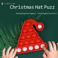 TikTok Trend Sensory Fidget Toys Christmas Hat Push Board Xmas Eve Kids Gifts Party Ornament Decompression Mice Killing Finger Press Bubbles BO18