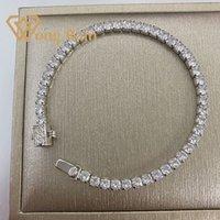 Wong Yağmur 100% 925 Ayar Gümüş 3 * 3mm Oluşturulan Moissanit Taş Bileklik Charm Düğün Bilezik Güzel Takı Toptan CX200702