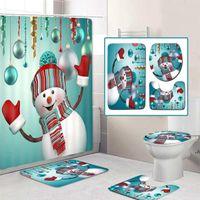 Merry Christmas Duş Perdesi Banyo Seti Kardan Adam Santa Baba Desen Su Geçirmez Tuvalet Kapağı Mat Kaymaz DWB7462