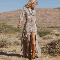 Teyynn Boho Abito lungo Vintage Vintage Stampa floreale Chiffon Tre quarti manica con scollo a V Estate Gypsy Hippie Donne Abiti Vestidos 210312