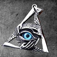 Charms rostfritt stål vintage freemasonry-triangle demon ögon hängsmycke män kvinnor masonic-pendants smycken
