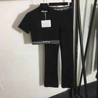 220 2021 Minlan Style Spring Summer Brand Mismo Estilo Dos Piezas Conjuntos Pantalones Jersey Pantalones Negro Imperio Corta Manga Corta Alta Calidad Meiyi