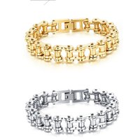 Stainless Steel Biker Chain Bracelet Mens Bracelet Link Chain Motorcycle Bicycle Style Bracelets Fashion Punk Bangles Jewelry 4 colors