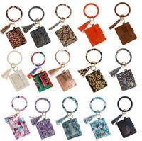 US Stock Designer Tasche Brieftasche Leopard Print PU Leder Armband Keychain Brieftaschen Kreditkarten Quasten Armreif Schlüssel Ring Halter Wristlet Handtasche Dame