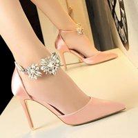 Dress Shoes Women Luxury High Quality Flower Cyrstal Rhinestone Satin Wedding Bridesmaid Woman Pumps Heels Stiletto