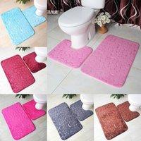 목욕 매트 2 피스 세트 조약돌 패턴 화장실 커버 발 패드 미끄럼 방지 욕실 욕실 Doormat Flannel 부드러운 목욕 러그 카펫