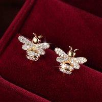 Saplama Sevimli Tiny Rhinestone Arı Küpe CZ Kübik Zirkonya Kristal Bal Küpe Kadınlar için Parti Bildirimi Takı