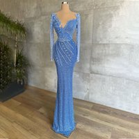 Shiny Evening Dresses Luxury 2021 Tulle Lace Beaded Long Sleeve Formal Prom Gown Women Event Party Vestidos De Fiesta