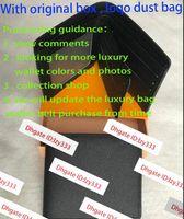 2020 حقيبة جديدة شحن مجاني billfold جودة عالية منقوشة نمط المرأة محفظة الرجال بيوت الراقية مصمم محفظة مع مربع 60223