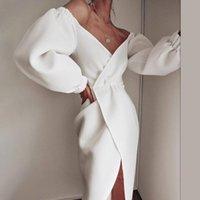 Casual Kleider Sexy V-Ausschnitt Frauen Wrap Kleid Laterne Ärmel Schlitz Nacht Feiern Weiß Schwarz Party Datum Robe Vestidos Weibliche Mode